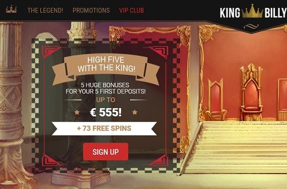 King Billy Casino bonuses + free spins