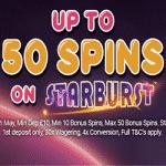 Monster Casino: 50 Bonus Spins on Starburst